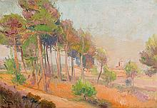 ATTRIBUTED TO EUGENIO GÓMEZ MIR (1877 - 1938), Landscape with Trees. Oil on canvas