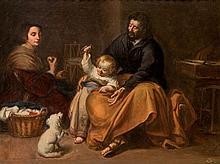 EUGENIO OLIVA Y RODRIGO, Sagrada familia del pajarito. Oil on canvas