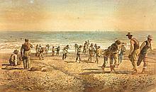 EMILIO MILLÁN FERRIZ, Pescadores en la playa. Watercolour on paper