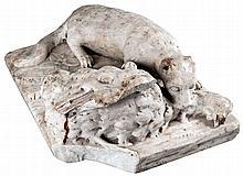 ENRIQUE CASANOVA, Hurón cazando. A marble sculpture