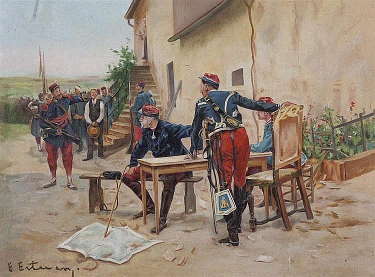 ENRIQUE ESTEVAN Y VICENTE, Soldados. Oil on canvas