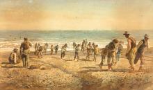 """EMILIO MILLÁN FERRIZ (Ceuta, 1859-?) """"Pescadores en la playa"""". Watercolor on paper"""