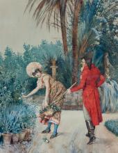 """SALVADOR VINIEGRA Y LASSO (Cadiz, 1862 - Madrid, 1915) """"Joven cortejando a una muchacha"""". Watercolor on paper"""