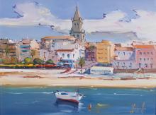 "JOAN SARQUELLA (Palamós, Girona, 1956) ""Palamós"". Oil on canvas"
