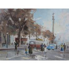 """JORDI FREIXAS CORTÉS (Barcelona, 1917 - 1984) """"Tranvía en Las Ramblas, Barcelona"""". Oil on canvas"""