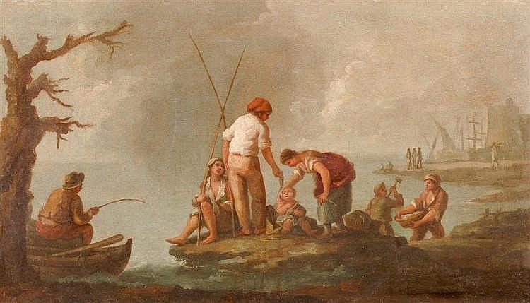 Neapolitan school pareja de cuadros de pescadores oil on c - Cuadros de parejas ...