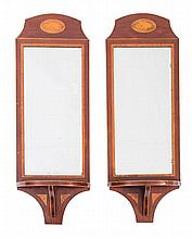 A PAIR OF MAHOGANY AND MARQUETRY WALL MIRRORS WITH SHELVES