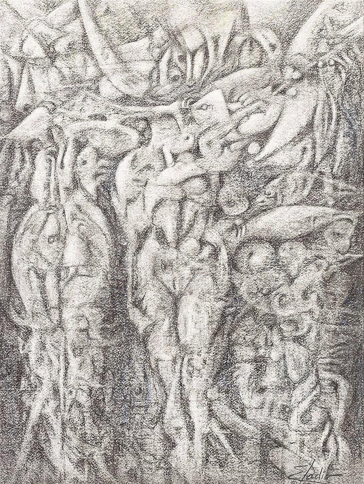 ELADIO  GONZÁLEZ, Tres figuras. Pencil drawing on paper