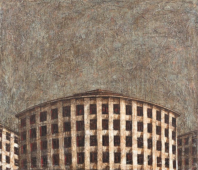 GUSTAVO ACOSTA, La era espacial. Acrylic on canvas