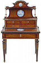 A NAPOLEON III STYLE ROOTWOOD, MARQUETRY, GILT BRONZE AND PORCELAIN BONHEUR DU JOUR