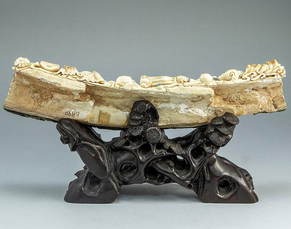 Chinese Carved Mammoth Tusk
