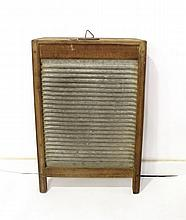 Wood and metal laundry washboard