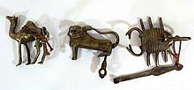 Lot of three brass locks