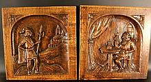 Pair of oak-wood panels