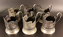 6 Russian silver-plated cup holders