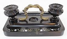 Marble and brass inkwell