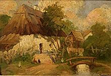 Unidentified artist, oil on cardboard painting