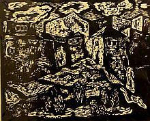 Miron Sima (Israeli, 1902-1999), houses on a hill