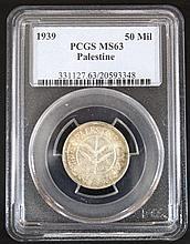 A 50 mils coin, British Mandate Palestine, 1939