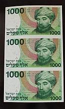 Uncut 1000 shekels banknotes