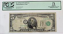 A five dollar bill with an offset error