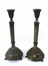 A pair of Polish (Warsaw) candlesticks