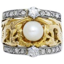 Art Nouveau Pearl Diamond Gold Platinum Ring