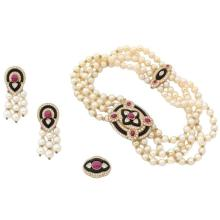 1980s Boucheron Diamond Ruby Onyx Pearl Set Earrings Ring Necklace