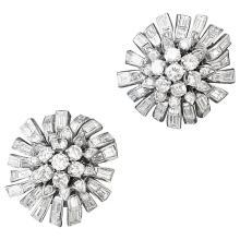 1950s Diamond and Platinum Flower Earrings