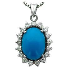 Turquoise Diamond White Gold Pendant Necklace