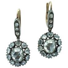 19th Century Holland Rose Cut Diamond Silver Yellow Gold Earrings