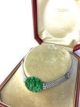 1920s Art Deco Jade Nephrite Pearl Diamond Platinum Necklace