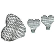 Heart design Diamond white gold Ring and Earrings