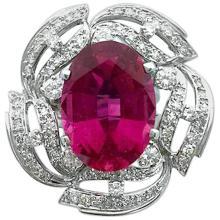 13.15 Carat Tourmaline Rubellite Diamond White Gold Ring