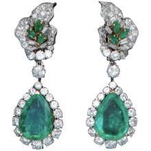 1960s French Emerald Diamond and Platinum Ear Pendants