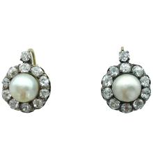 Antique Natural Pearl Diamond Silver Gold Earrings