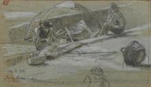 Marco Calderini (1850 - 1941) PESCATORI ALL'ISOLA BELLA Matita di grafite e tempera bianca. mm 100x172. Titolato a penna e datato '14.5.95' a matita.