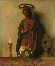 Mario Moretti Foggia (1882 - 1954) DEVOZIONE olio su tela, cm 71,5x60