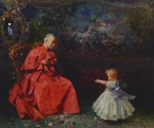 Barbudo Salvator Sanchez (1857 - 1917) IL CARDINALE olio su tela, cm