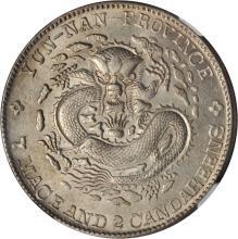 CHINA. Yunnan. 7 Mace 2 Candareens (Dollar), (1908). NGC MS-61.