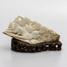 Mammoth Ivory Sculpture-Three Horses