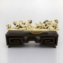 Mammoth Ivory Erotic-Two Couple On A Swing With Ball