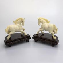 sculpture mammoth ivory - Pair Of Horses