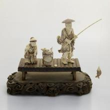 Mammoth Ivory sculpture-Old Couple Fishing