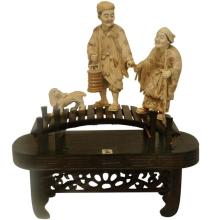 Mammoth Ivory Sculpture- Old Couple Walking on a Bridge