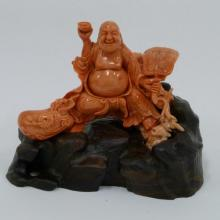 Coral Sculpture - Buddha Holding a Fan