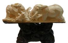 Mammoth Ivory Tusk Of 2 Elephants & Monkey