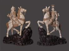 Pair Mammoth Ivory Warriors On A Horse On An Antique