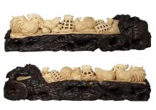 Mammoth Ivory Handcrafted Rooster Family Carving