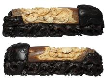 Mammoth Ivory Handcrafted Frogs Playing On Lotus Leaf